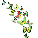 12PCS 3D Green Butterfly Stickers Card Making Stickers Wall Stickers 3D Crafts Butterflies