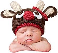 DAYAN Navidad de renos Recién nacido foto del bebé Atrezzo hecha a mano del ganchillo del Knit Cap