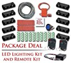 Red Motorcycle Remote Controlled LED Lighting Kit with 10 Black LED Light Pods