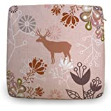 """Decorshow Brown Deer Chair Pad, Personalized Chair Cushions, Cotton Linen Kitchen Chair Pad 18"""" X 18"""""""
