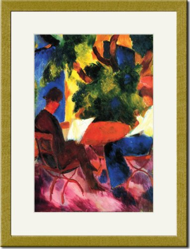 Gold Framed/Matted Print 17x23, Couple at the garden table