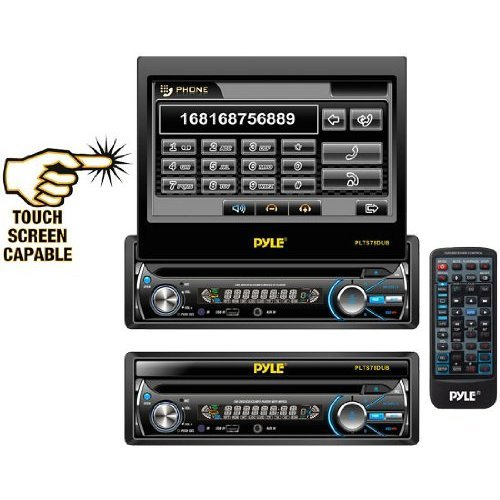 Pyle Plts78Dub 7-Inch In-Dash Detachable Motorized Touch Screen Tft/Lcd Monitor With Dvd/Cd/Mp3/Mp4/Usb/Sd/Am-Fm Bluetooth Receiver
