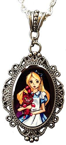 Alkemie Alice nel paese delle meraviglie e gatto del Cheshire Cameo ciondolo collana