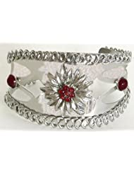 Red Stone Studded Cuff Bracelet - Metal
