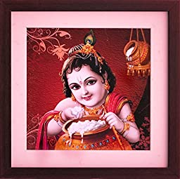 Lord Child Krishna Eating & Playing with Butter, a Paper Poster with Framing, a Decorative Painting for Home / Office Décor