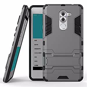 G-STAR Defender Tough Hybrid Armour Shockproof Hard PC + TPU with Kick Stand Rugged Back Case Cover for HUAWEI HONOR 6X - Grey