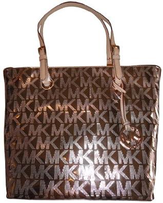 Michael Kors Mk Mirror Metallic Rose Gold Grab Bag