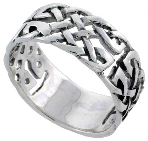 Sterling Silver Celtic Knot Wedding Band / Thumb Ring 3/8 inch wide, size 7.5