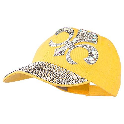 Fleur De Lis Rhinestone Jeweled Baseball Cap - Yellow OSFM (Yellow Ss Emblems compare prices)
