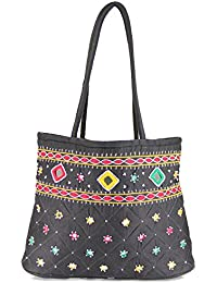 Women Cottage Black Cotton Border Patch Work Small Bag