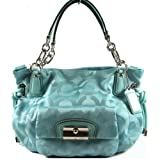 NEW AUTHENTIC COACH KRISTIN OP ART SATEEN EW SHOULDER TOTE (Turquoise/Silver) Review