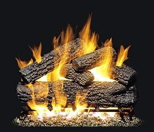 Peterson Gas Logs 20 Inch Post Oak Vented Natural Gas Log Set W/ ANSI Certified G45 Burner & Variable Flame Remote