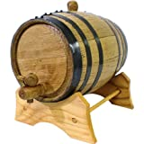 Oak Beverage Dispensing Barrel with Black Steel Bands: 2 Liter - Whiskey