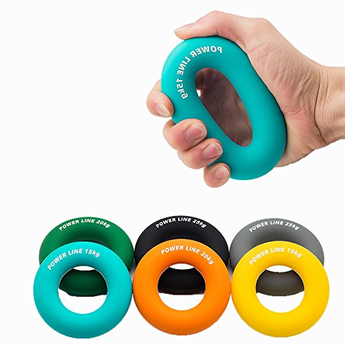 SMARTFLY Six Colors Silicon Ring Hand Grip Trainer for Forearm Hand and Finger Strength - Extension, Crushing & Pinch Grip Training Solution Color Green,20kg (3 Level Resistance 15, 20, 25KG)