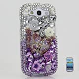 3D Luxury Swarovski Crystal Diamond Silver faded to Purple Butterfly Design Case Cover for Samsung Galaxy S3 S III i9300 fits Verizon, AT&T, T-mobile, Sprint and other Carriers (Handcrafted by BlingAngels)