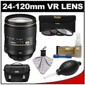 Nikon 24-120mm f/4 G VR AF-S ED Zoom-Nikkor Lens with 3-Piece Filter Set + Case + Accessory Kit for Nikon D3200, D3300, D5200, D5300, D7000, D7100, D610, D800, D810, D4s DSLR Cameras