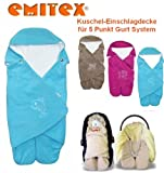 Emitex MULTI - Spring / Summer / Autumn -- NO UNTHREADING of Seat Belts -- Swaddling Wrap, Car Seat and Pram Blanket, Universal for Car Seat (e.g., Maxi-Cosi, Römer, etc.), for Pram, Buggy or Baby Bed -- AQUA