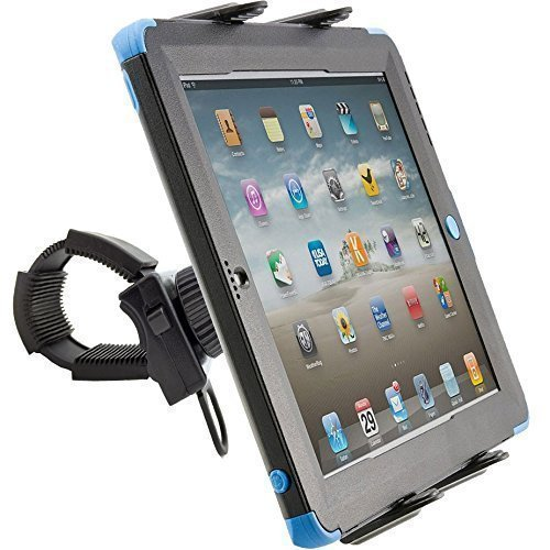 ChargerCity Strap-Lock Tablet Mount for Bicycle Treadmill Exercise Bike Boat Helm Handlebar w/ universal tablet holder for Apple iPad Mini Air PRO /Ipad Samsung Galaxy Tab Note