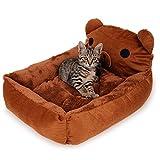 Jwish ペット用 犬 猫 ヒグマのベッド ソフト クッション ソファ ふわふわ モコモコ 暖かい 洗える 2サイズ選べる 秋冬用 (L)