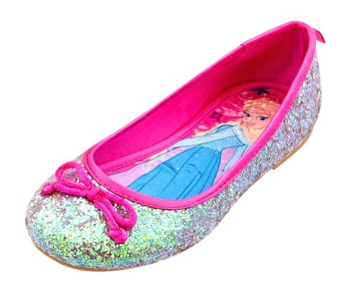 DISNEY STORE FROZEN PRINCESS ANNA AND ELSA BALLET FLATS KIDS GIRLS SHOE SIZE 7 SILVER