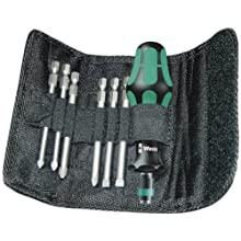 Wera KK 40 Kraftform Bitholding Screwdriver and 3 1/2-Inch Bit Pouch Set, 7-Piece