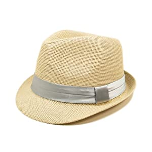 Classic Natural Fedora Straw Hat, Silver Gray Band