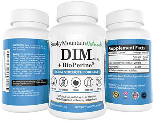 DIM (Diindolylmethane) / Uncommonly Strength- 200mg with BioPerine (2 Month Supply). Promotes Beneficial Estrogen Metabolism in Both Men and Women. BioPerine Allows the Assembly to Better Absorb the DIM. Commonly used for Estrogen-Dominance. Vegan,