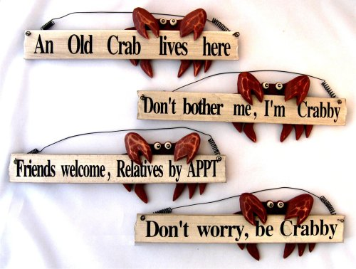 Set of 4 Crab Signs Wood Boat Beach Nautical Decor