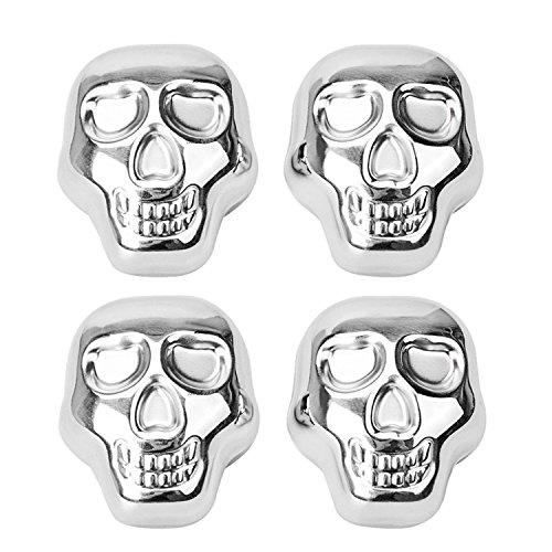 Whiskey Stones, Set of 4 Stainless Steel Ice Cube Chilling Rocks Wine Champagne Beer Chiller Reusable
