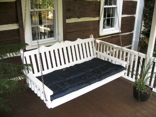Outdoor 6' Royal English Garden Porch Swing Bed - Oversized Porch Swing - PAINTED- Amish Made USA -Olive Gray