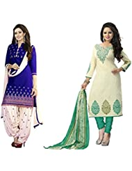 Shiroya Brothers Women's Cotton Printed Salwar Suit Dress Material (Combo Pack Of 2)(SB_1013_Blue)(SB_1013_Green)