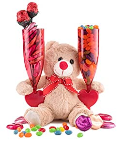 With Love Gift, Chocolate Candy Lips and Conversation Jelly Beans Filled Heart Champagne Flutes for 2, Adorable Plush Teddy Bear, Red Roses Gift