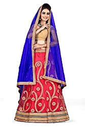 Pushty Fashion Blue and Red Embroidered net Lehnga