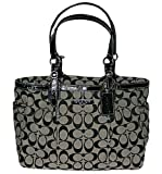 Coach Gallery 12 cm Signature East/West Tote Handbag - Black/White