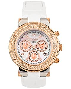 Mulco MW3-70602S-113 Stainless Steel Chronograph BlueMarine Collection Rose Gold and Stones bezel White Band Watch