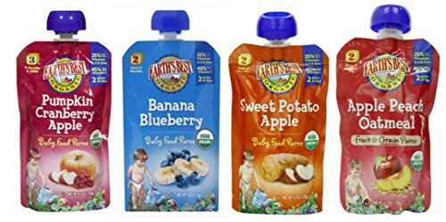 Earth'S Best Organic Baby Food Puree Pouch Variety Pack: (1) Pumpkin Cranberry Apple, (1) Banana Blueberry, (1) Sweet Potato Apple, And (1) Apple Peach Oatmeal, 4 Oz. Ea. (4 Pouches Total)