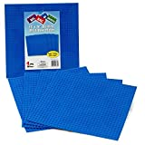 "Brick Building Base Plates By SCS - Large 10""x10"" Blue Baseplates (4 Pack) - Tight Fit With Lego"