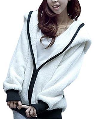King Ma Women's Panda Ear Tail Zip up Hoodie Outerwear