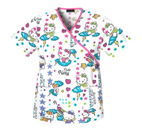 2ee635ca676 Cherokee Cartoon Print Mock Wrap Scrub Top-Scribble Kitty, Small