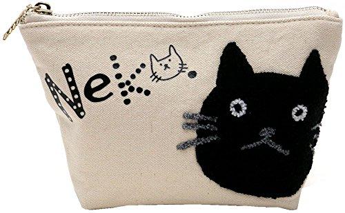 (マルカワジーンズパワージーンズバリュー) Marukawa JEANS POWER JEANS VALUE ポーチ レディース ネコ 猫 キャラクター ネコ刺繍 ユニセックス メンズ 3color Free アイボリー