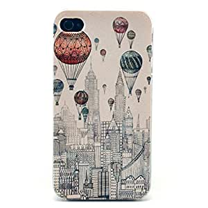 iPhone 4 Case,iPhone 4S Case,Gift_Source Funny Series Picture [Hot air balloon over the city Design pattern] Hard Back Case Cover Skin For Apple iPhone 4/4S +1 X Screen Protector and Stylus Pen