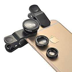 [New Clip One] VicTsing Clip 180 ° Fish-Eye Lens+Wide Angle Lens+Micro Lens 3-in-1 Easy-Use Camera Lens Kits (Black) for iPhone 6 6 Plus 5 5C 5S 4S 4 3GS iPad mini iPad Air 4 3 2 Samsung Galaxy S4 S3 S2 Note 3 2 1 Sony Xper