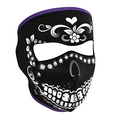ZANheadgear Neoprene Full Mask with Highway Honey Muerte Rhinestones Design (Multi Color, One Size)