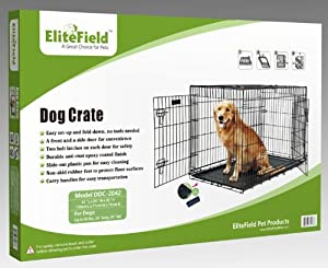 """EliteField Two Door Folding Dog Crate with RUBBER FEET, 5 Sizes, 10 Models Available, FREE Shipping (2-Door Crate, 42""""L x 28""""W x 30""""H) from EliteField"""