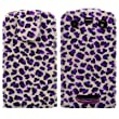 Wayzon Organic PU Leather Flip Case Cover Skin Pouch Shell Holster Built In Hard Plastic Holder Housing Purple Furry Leopard Design For Blackberry Curve 9360 Phone