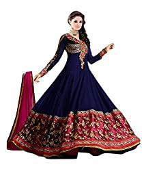 Clickedia Women Faux Georgette Dress Material (50009-Blue _Blue _Free Size)