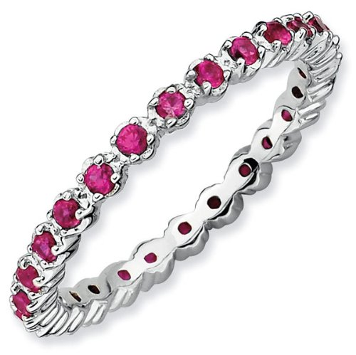 Prong Set Created Ruby Eternity Stackable Ring - Size 7