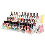 MyGift (60 Bottle) Professional Clear Acrylic Nail Polish Rack Tabletop Display Stand w/ Filer & Brush Holder Cup