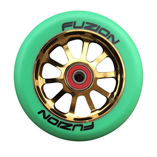 fuzion-10-spoke-metal-core-110mm-pro-scooter-wheel-with-abec-9-bearings-gold-teal