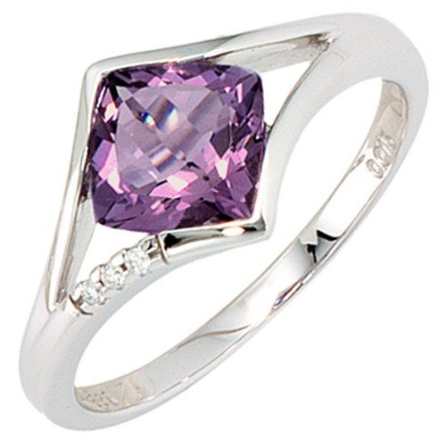 Ring ladies 'ring with Amethyst and Diamonds 3 Diamonds 585 white gold ring